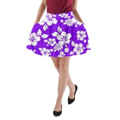 Violet Hawaiian A-Line Pocket Skirt