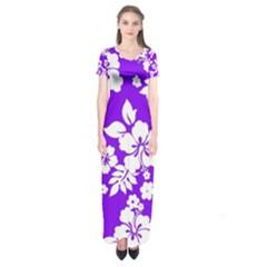 Violet Hawaiian Short Sleeve Maxi Dress