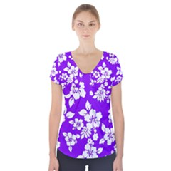 Violet Hawaiian Short Sleeve Front Detail Top