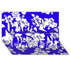 Deep Blue Hawaiian Happy Birthday 3d Greeting Card (8x4)