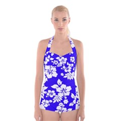 Deep Blue Hawaiian Boyleg Halter Swimsuit