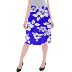 Deep Blue Hawaiian Midi Beach Skirt