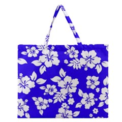 Deep Blue Hawaiian Zipper Large Tote Bag