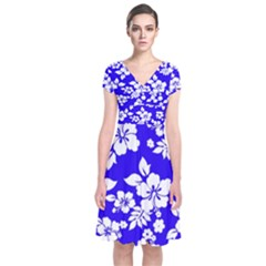 Deep Blue Hawaiian Short Sleeve Front Wrap Dress