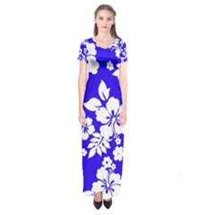 Deep Blue Hawaiian Short Sleeve Maxi Dress