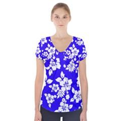 Deep Blue Hawaiian Short Sleeve Front Detail Top