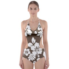 Sepia Hawaiian Cut Out One Piece Swimsuit