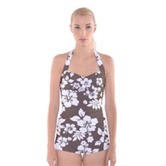 Sepia Hawaiian Boyleg Halter Swimsuit