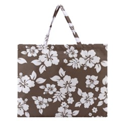 Sepia Hawaiian Zipper Large Tote Bag