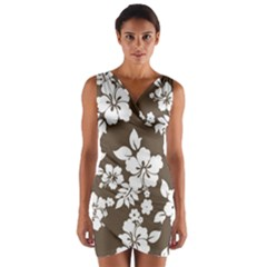 Sepia Hawaiian Wrap Front Bodycon Dress