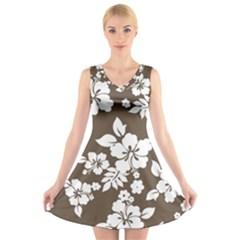 Sepia Hawaiian V Neck Sleeveless Skater Dress