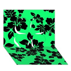 Dark Lime Hawaiian Clover 3D Greeting Card (7x5)