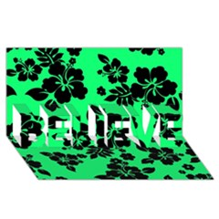 Dark Lime Hawaiian BELIEVE 3D Greeting Card (8x4)