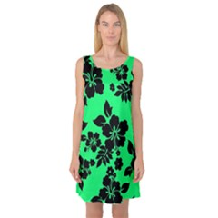 Dark Lime Hawaiian Sleeveless Satin Nightdress