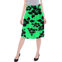 Dark Lime Hawaiian Midi Beach Skirt