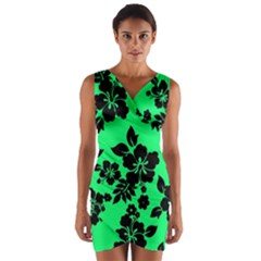 Dark Lime Hawaiian Wrap Front Bodycon Dress