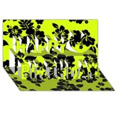 Dark Hawaiian Happy Birthday 3D Greeting Card (8x4)
