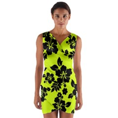 Dark Hawaiian Wrap Front Bodycon Dress