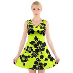 Dark Hawaiian V-Neck Sleeveless Skater Dress