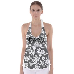 Gray Hawaiian Babydoll Tankini Top