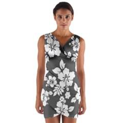 Gray Hawaiian Wrap Front Bodycon Dress