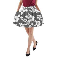 Gray Hawaiian A Line Pocket Skirt