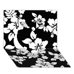 Black And White Hawaiian Heart 3D Greeting Card (7x5)