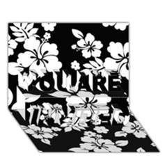 Black And White Hawaiian YOU ARE INVITED 3D Greeting Card (7x5)