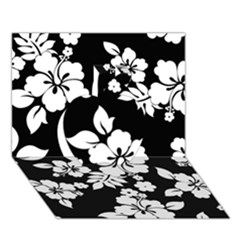 Black And White Hawaiian Apple 3D Greeting Card (7x5)