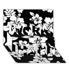 Black And White Hawaiian WORK HARD 3D Greeting Card (7x5)
