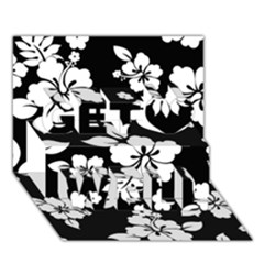 Black And White Hawaiian Get Well 3D Greeting Card (7x5)