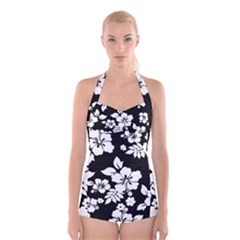 Black And White Hawaiian Boyleg Halter Swimsuit