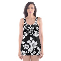 Black And White Hawaiian Skater Dress Swimsuit