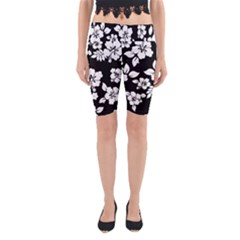 Black And White Hawaiian Yoga Cropped Leggings