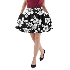 Black And White Hawaiian A-Line Pocket Skirt