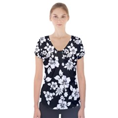 Black And White Hawaiian Short Sleeve Front Detail Top