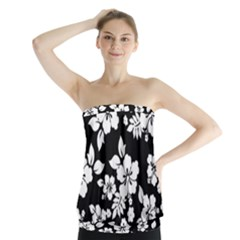 Black And White Hawaiian Strapless Top