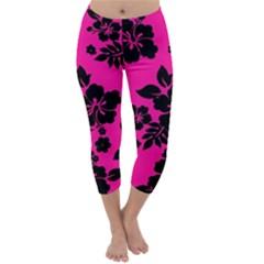Dark Baby Pink Hawaiian Capri Winter Leggings