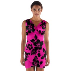 Dark Baby Pink Hawaiian Wrap Front Bodycon Dress