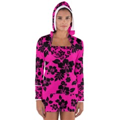 Dark Baby Pink Hawaiian Women s Long Sleeve Hooded T Shirt