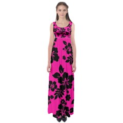Dark Baby Pink Hawaiian Empire Waist Maxi Dress