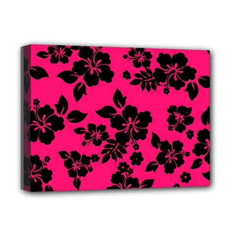 Dark Pink Hawaiian Deluxe Canvas 16  x 12