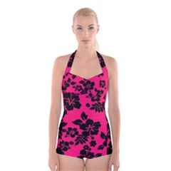 Dark Pink Hawaiian Boyleg Halter Swimsuit