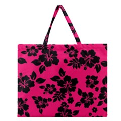 Dark Pink Hawaiian Zipper Large Tote Bag