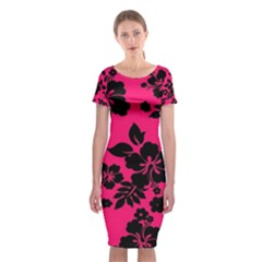 Dark Pink Hawaiian Classic Short Sleeve Midi Dress