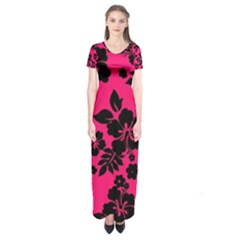 Dark Pink Hawaiian Short Sleeve Maxi Dress