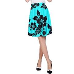 Blue Dark Hawaiian A-Line Skirt