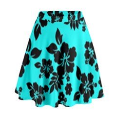 Blue Dark Hawaiian High Waist Skirt