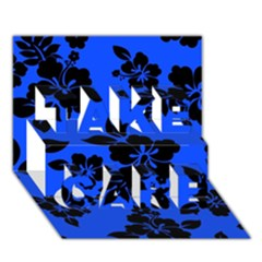 Dark Blue Hawaiian TAKE CARE 3D Greeting Card (7x5)