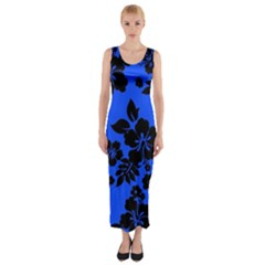 Dark Blue Hawaiian Fitted Maxi Dress